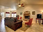 The gorgeous open concept living area is a perfect relaxation spot.