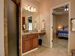 Spacious master bathroom comes with hotel sized amenities and bath towels.