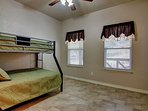 Second bedroom has a bunk bed with a full size mattress on the bottom bunk and a twin size mattress on the top bunk.
