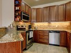 The full kitchen comes stocked with all the pots, pans, plates, bowls, and utensils that should be necessary for your...