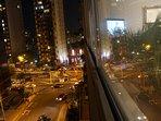 night window view facing Bajada Balta (the road to beaches)