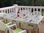 Los Pinos has a delightful patio for outdoor dining