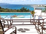 Outdoor dining for 8 with St. Marteen in the background