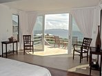 The  balcony of the master bedroom in the Main Villa with spectacular views of St. Maarten