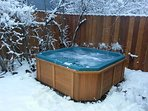 Forget it all while soaking in our private hot tub.