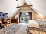 """Master Bedroom with King Size Fully Adjustable Bed with Massage. 42"""" HDTV."""