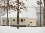 Snowy day at the Farmhouse cottage rental.