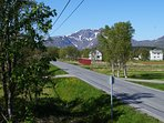 Main road to the south.  Mountain is Bjørnskinnfjellet. Height  635 meters.
