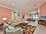 Living Room with Flat Screen TV; New Couches and Seating; Perfect for Game or Movie Night!