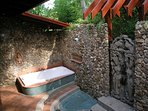 Outdoor Balinese bathtub and shower