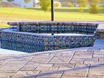 Pebble Tec pool and spa wrapped in glass mosaic and 'glacier' patio brick pavers. Isn't it beautiful