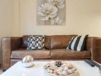 Relax on a comfortable leather sofa.