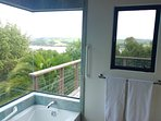 Bath and shower with a view off Master Suite