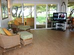 Views from your favorite chair, football game, ocean & children at play. Nice!