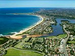 Narrabeen beach from the air, with Long Reef and the lake
