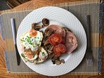 (1) Breakfast Option;  'Cooked breakfast'- Eggs; Bacon; Tomatoes; Mushrooms; Baked Beans.