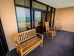 Oceanfront Balcony. Balcony seating has been refreshed with multiple coats of durable white paint.