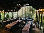 Screened in porch decorated for wedding reception