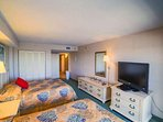 Master bedroom has two queen beds, large flat screen TV.  Beds will be made when you arrive.