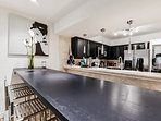 Entertaining Dining Room with long table for larger dinner parties
