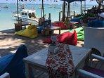 One of the many restaurants on Sanur Beach