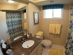 Hall Bathroom with Shower/Tub Combo, New Plush Towels, Basic Toiletries, Granite Vanity