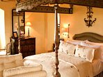 The Carmichael bedroom on the second floor has a super king four poster bed