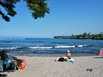 You can sit on the beach and enjoy the view and relaxing sounds of the waves.