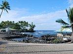 Ancient Hawaiian ruins at the beach.