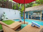Sun Loungers and Outdoor Area with Private Pool
