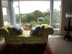 a settee by the fynbos garden - if you are lucky, you may spy on a bushbuck nearby