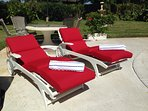 Top-quality pool furniture and comfortable cushions.