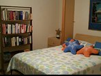 Bedroom #3 features a queen bed with very comfortable mattress, comforter. Guest library and games.