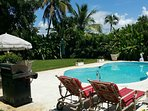 View of private and secluded swimming pool, and sun deck, grill and tropical gardens.