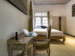 bedroom 1, desk, AC, king size bed, ensuite bathroom