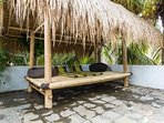 Bamboo gazebo with day beds. Perfect for a quiet siesta