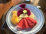 Fruits served daily at breakfast.