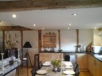 The kitchen-dining area with bespoke sycamore kitchen