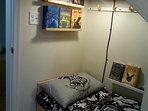 Harry Potter cupboard-under-the-stairs (child sized bed) with pull-down privacy shade