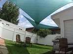 Private Fenced  Back Yard with Sun Shades, Grill and Patio Furniture for your outdoor relaxation