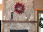 Custom stone fireplace with gas insert