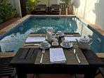 Poolside breakfast