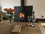 The woodburner is lovely to cosy up in front of in the chillier months.