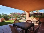 Raised ground floor terrace with direct access to pool (rather than from back of resort)