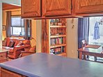 The kitchen is open to the dining area, allowing for easy entertaining.