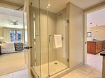 With an elegant glass walk-in shower
