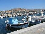 Parikia's fishing port is 2 minutes walk