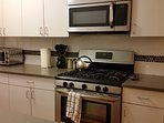 5 burner stove. Dishwasher and a the cooking supplies at your fingertips.  New renovation.