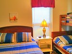 2nd Bedroom with Queen & Bunk Beds (Twin over Full) Sleeps 5