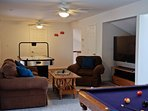 Gameroom with Pool, Air Hockey 6 Ft TV & XBOX